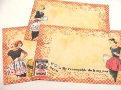 Funny Retro Recipe Cards  Set Of 12  1950's by SiriusFun on Etsy
