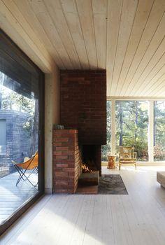 white-glazed pine clad interior, original brick fireplace