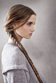blind seas hair braid girl brunette long hair tail side face portrait photo model photograph grey sweater female woman