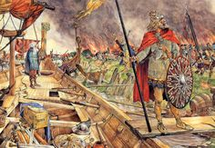 The Vikings plunder Dorestad Viking Art, Viking Warrior, Viking People, Ottonian, Germanic Tribes, Central And Eastern Europe, Ancient Vikings, Early Middle Ages, Vintage School