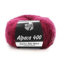Lana Grossa Alpaca 400 -      Naalddikte: 4-4,5         Lengte: 375 m      Samenstelling: 35% Alpaca, 30% Merino wol, 35% Polyamide