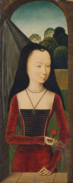 Attributed to Hans Memling Young woman in a conical hennin with black velvet lappets or brim and a sheer veil, from the Allegory of True Love, 1485–90.