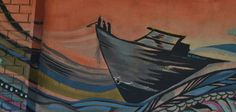 Ocean graffiti Ship at Sunset, orange and blue, Fresno, CA near Olive Street 2013