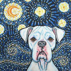 Boxer <b>Van Gogh</b> - by Melinda Dalke from animal wildlife art gallery