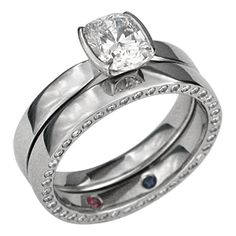 Modern Taper Engagement Ring with Diamond Eternity Wedding Band - The wedding ring is set with a ruby and sapphire inside the band.