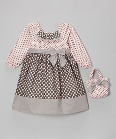 Take a look at this Pink & Gray Polka Dot Bow Dress & Purse - Infant, Toddler & Girls by Donita on #zulily today!