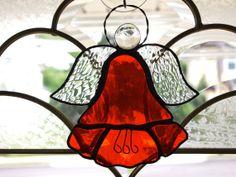 Stained Glass Poppy Flower Angel Suncatcher by GlassofDistinction, $13.95