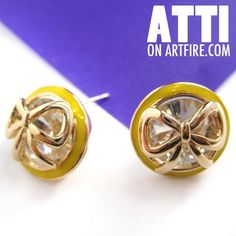 $8 Small Round Rhinestone Bow Tie Ribbon Stud Earrings in Yellow and Gold