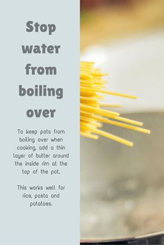 Cooking Tip: How to stop water from boiling over the pot Cast Iron Care, Mediterranean Recipes, Cooking Tips, A Food, Helpful Hints, Nutrition, Make It Yourself, Kitchen, Life Hacks