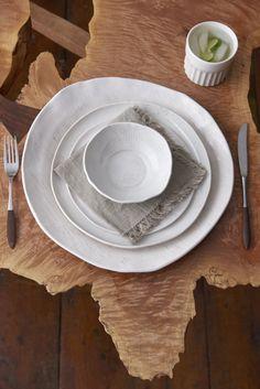 Birch and Honeycomb dinnerware on custom live edge table #tabletop #artisantable #interiors #handmade #madeinusa www.dbohome.com