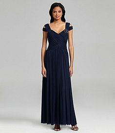 JS Collections Beaded Mesh Gown #Dillards