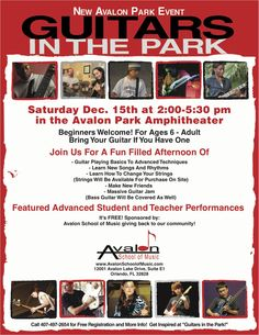 Guitars in the Park-Avalon School of Music-Dec. 15th, 2:00 p.m. Town Park