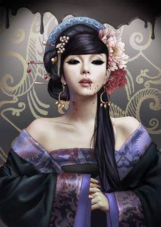 chinese vampire by frankcarson - CGHUB Writing Fantasy, Fantasy Art, Vampires, Deadly Creatures, Black Dancers, Geisha Art, Vampire Art, L5r, World Of Darkness