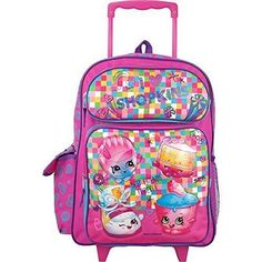 aacb51e5a49a Girls Rolling Backpack Shopkins Large School Travel Lunch Tote Bag Trolley  16 In  Shopkins