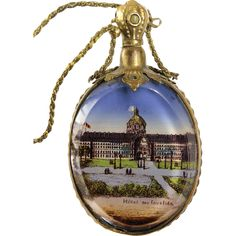 Antique French 'Grand Tour' Perfume Scent Bottle / Vanity Mirror Necklace with Les Invalides Napoleon's Tomb Stanhope  - found at www.rubylane.com #vintagebeginshere