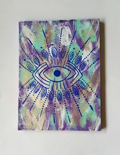 Bohemian blue evil eye acrylic canvas painting for by StarrJoy16