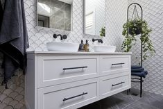 The Block 2020: Master Ensuite Reveals Grey Tiles, White Tiles, The Block Bathroom, Tall Plant Stands, Fish Scale Tile, Smart Toilet, Beaumont Tiles, Pink Towels, Black Bath