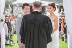 from behind the minister (might be possible at the outdoor weddings?) -Jasmine Star Blog