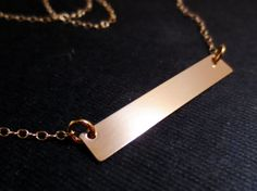 Gold Bar Necklace, Rectangle Gold Minimalist, Minimal Gold Filled, Valentines Mothers Day
