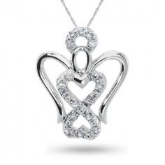 Forever Heart , Sterling Silver and Diamond Accent Pendant