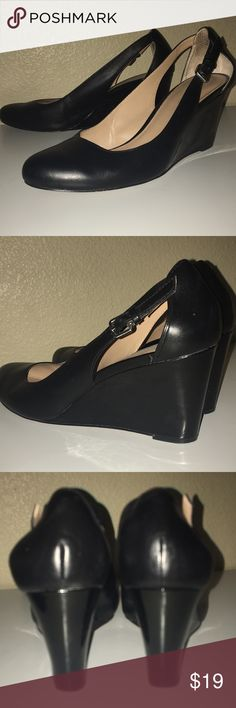 REAL LEATHER Black Wedges REAL LEATHER!  Black wedges Slightly used Size: 9.5 Kelly & Katie Shoes Wedges