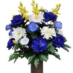 Blue, yellow and white Morning Glories, Daisies and Peonies (Silk Cemetery Flowers) Grave Flowers, Cemetery Flowers, Church Flowers, Funeral Flowers, Artificial Flower Arrangements, Beautiful Flower Arrangements, Artificial Flowers, Beautiful Flowers, Floral Arrangements