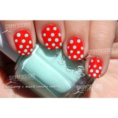 Steph's Closet Photo: Red with Mint Green Polka Dot Nail Art,