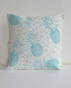 Pineapple Throw Pillow - Organic Cotton - Decorative Pillow - Envelope Closure - Made in USA - Modern Home Decor - Organic Pillow Case Printed Napkins, New England Homes, Cloth Napkins, Pillow Inserts, Screen Printing, Decorative Pillows, Organic Cotton, Etsy Shop, Throw Pillows