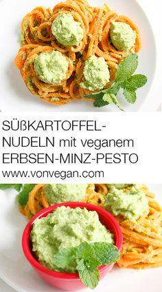 Mit die Spiralschneider hergestellte Süsskartoffel-Nudeln mit einem veganen Pesto aus Cashews, Erbsen und Minze. Rezept: http://www.vonvegan.com/suskartoffel-spaghetti-mit-erbsen-minz-pesto/