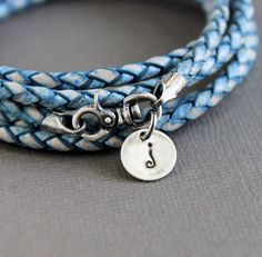 Natural Blue Leather Wrap Bracelet Silver Charm by LynnToddDesigns