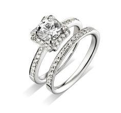 Diamond engagement ring and matching wedding band