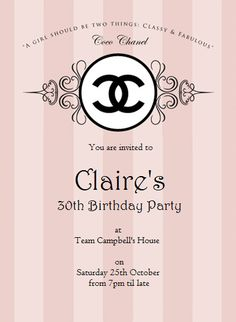 Chanel invitation for 30th party