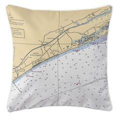 SC: North Myrtle Beach, SC Nautical Chart Pillow