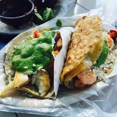 We just can't get enough Tacos. These fish and shrimp tacos with salsa verde are so tasty! #Tijuana #TijuanaMexico #Mexico #ILoveMexico #BajaCalifornia #Tacos #TijuanaMakesMeHappy #DiscoverBaja #DescubreBC #TacoLove #BajaFoodLovers #VisitTijuana #EnjoyTijuana #Salsa #Sauce #Love Enjoy Tijuana the next summer in: www.venatijuana.com  Adventure by dgss08 at Mariscos Titos oficial