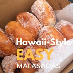 """Malasadas are one of the """"must-have"""" local foods of Hawaii so make sure you try one when visiting Oahu. Try our easy kid-friendly malasada recipe! Easy Malasadas Recipe, Malasadas Recipe Hawaii, Malasadas Recipe Portuguese, Hawaiian Dishes, Hawaiian Recipes, Hawaii Food Recipes, Hawaiian Appetizers, Hawaii Desserts, Gourmet"""