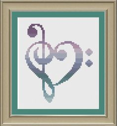 Treble and bass clef heart nerdy music by nerdylittlestitcher