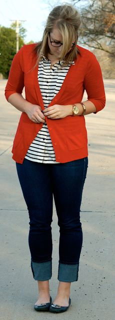 Outfit Posts: outfit post: red cardigan, striped shirt, bootcut jeans, black flats
