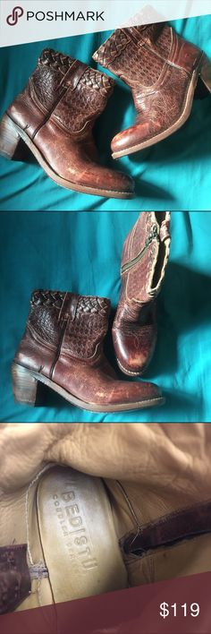 Bed Stu Booties size 8.5 Awesome Bed Stu brand boots. Fantastic color,  a rare reddish brown, only worn a few short times due to size problems. In like new condition, stunning leather detailing. Size 8.5, run a bit small so could work for an 8 as well. Bed Stu Shoes Ankle Boots & Booties