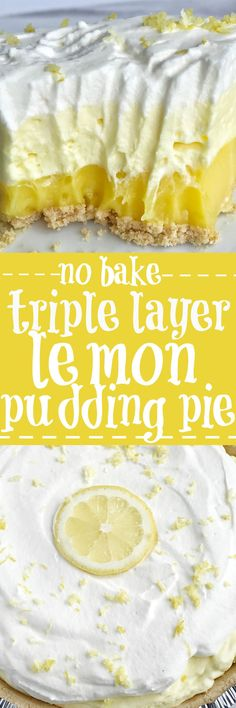 This easy & simple no bake triple layer lemon pudding pie is the perfect summertime dessert! You only need 5 ingredients for a sweet and creamy lemon pudding pie that is no bake and so simple to make. Desserts {no bake} Triple Layer Lemon Pudding Pie Low Carb Dessert, Oreo Dessert, Appetizer Dessert, Dessert Food, Dessert Ideas, Appetizer Recipes, 13 Desserts, Baking Desserts, Easy Lemon Desserts
