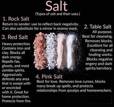 Posted by (Ms Avi) ~*~ HOODOO INGREDIENTS: SALT ~*~ By special request: various types of salt and their uses! Each type of salt contains different elements and different properties. Here are four of the most common and the uses they have . Witchcraft Spell Books, Wiccan Spell Book, Wiccan Witch, Witch Spell, Types Of Witchcraft, Witchcraft Herbs, Green Witchcraft, Spells For Beginners, Witchcraft For Beginners