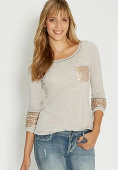 french terry pullover with sequin pocket and sleeve ends - #maurices