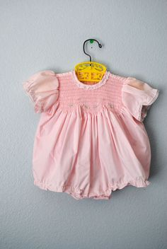 vintage baby girl pink bubble romper