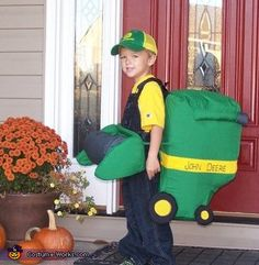 Aubrey: We are farmers. My son was obsessed with combines and wanted to dress up as one for Halloween - so I made him a costume.