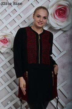 Туника женская батал стильная теплая с карманами и молнией красный