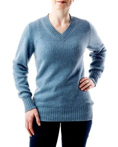 Winter & Bract's 3-Ply V-Neck (in 'Sky') - Born in Wyoming, Made in Scotland - only the world's finest 100% Cashmere