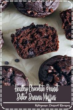 Healthy Chocolate Peanut Butter Muffins- moist and delicious, these muffins taste just like chocolate cake. Healthy Diet Recipes, Low Carb Recipes, Healthy Food, Yummy Food, Tasty, Sugar Free Recipes, My Recipes, Favorite Recipes, Popular Food