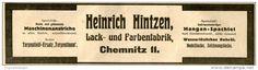 Original-Werbung/ Anzeige 1912 - LACK-UND FARBENFABRIK HINTZEN - CHEMNITZ  - ca. 200 x 50 mm