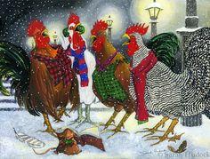 "Roosters carolling, 12""x16"", by Sarah Hudock - http://www.lightheartedart.com A great festive piece."