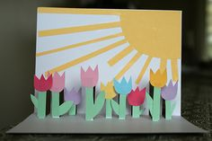 Tulip pop-up card DIY- here is another cute spring card to send to your sponsored child. Maybe change out the flowers to what is blooming in your area.