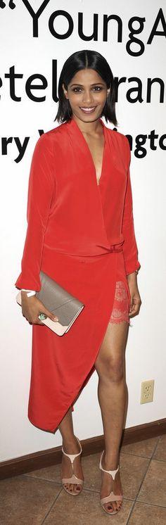Frieda Pinto: Dress – Michelle Mason  Shoes – Salvatore Ferragamo  Watch – Audemars Piguet  Purse – Khbeis